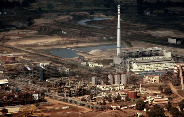 Vedanta's aluminium refinery at Lanjigarh, Odisha, seen from the Niyamgiri Hills