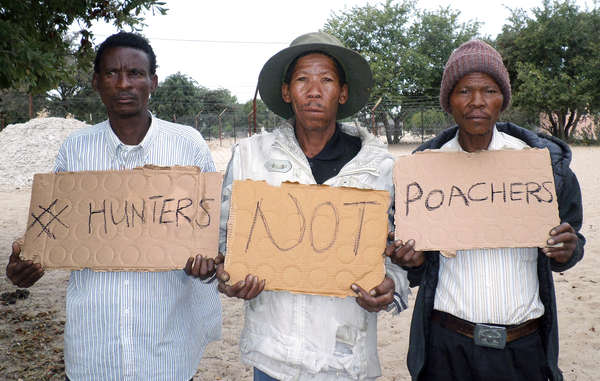 The Bushmen protested at an election rally of President Ian Khama, demanding the right to hunt to feed their families be upheld (archive image).