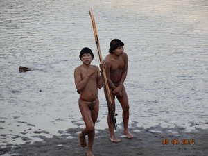 Uncontacted Indians who emerged near the Brazil-Peru border. Experts have warned of 'another genocide'.