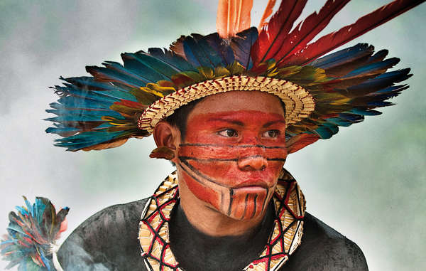 """Striking portrait of an Asurini do Tocantins man, the winning entry of Survival International's 45th anniversary photo competition."""