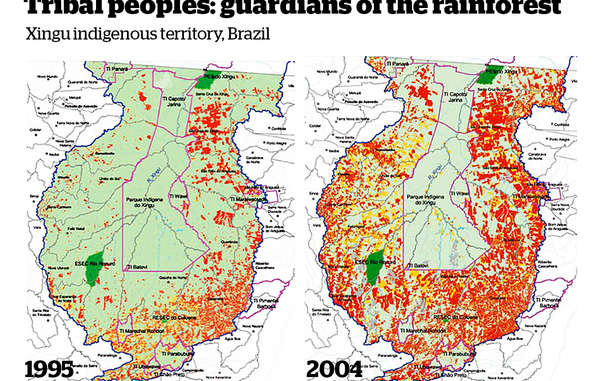 Le parc indigène du Xingu (entouré en rose) abrite plusieurs groupes indiens. Il représente une importante barrière à la déforestation (en rouge) de l'Amazonie brésilienne.