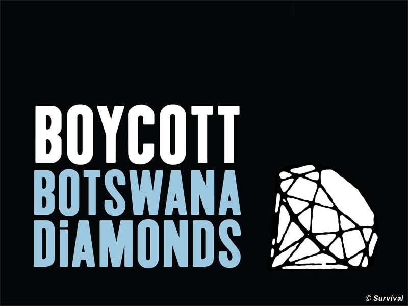 Survival appelle au boycott des diamants du Botswana tant que les Bushmen n'auront pas retrouvé leur accès à l'eau.