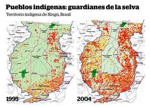El parque indígena de Xingú (delimitado en rosa) es el hogar de varias tribus. Proporciona una barrera vital contra la deforestación (en rojo) de la Amazonia brasileña.