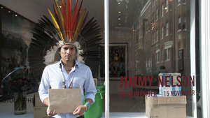 Amazon Indian protests outside Jimmy Nelson photo exhibition in London