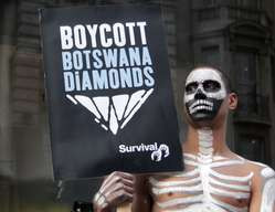 Survival is calling for a boycott of Botswana diamonds until the Bushmen are allowed water.