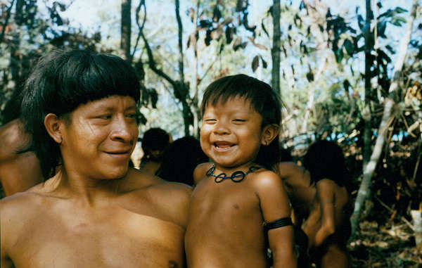 Enawene Nawe father and son, Brazil.