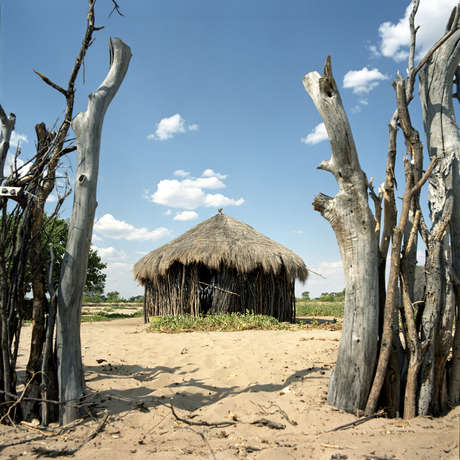 The Bushmen community of Metsiamenong in the Central Kalahari Game Reserve, Botswana, 2007.
