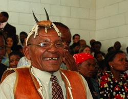 Bushmen leader Roy Sesana hears the verdict in court on Wednesday