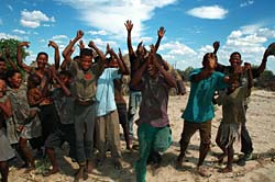 Bushmen inside the Central Kalahari Game Reserve erupt with joy on learning of their historic victory.