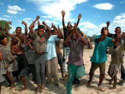 Bushmen at new Xade celebrating the news of their court victory, December 2006