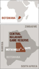 Map of the Bushmen's land, Botswana