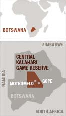 Mapa de la tierra de los bosquimanos, Botsuana