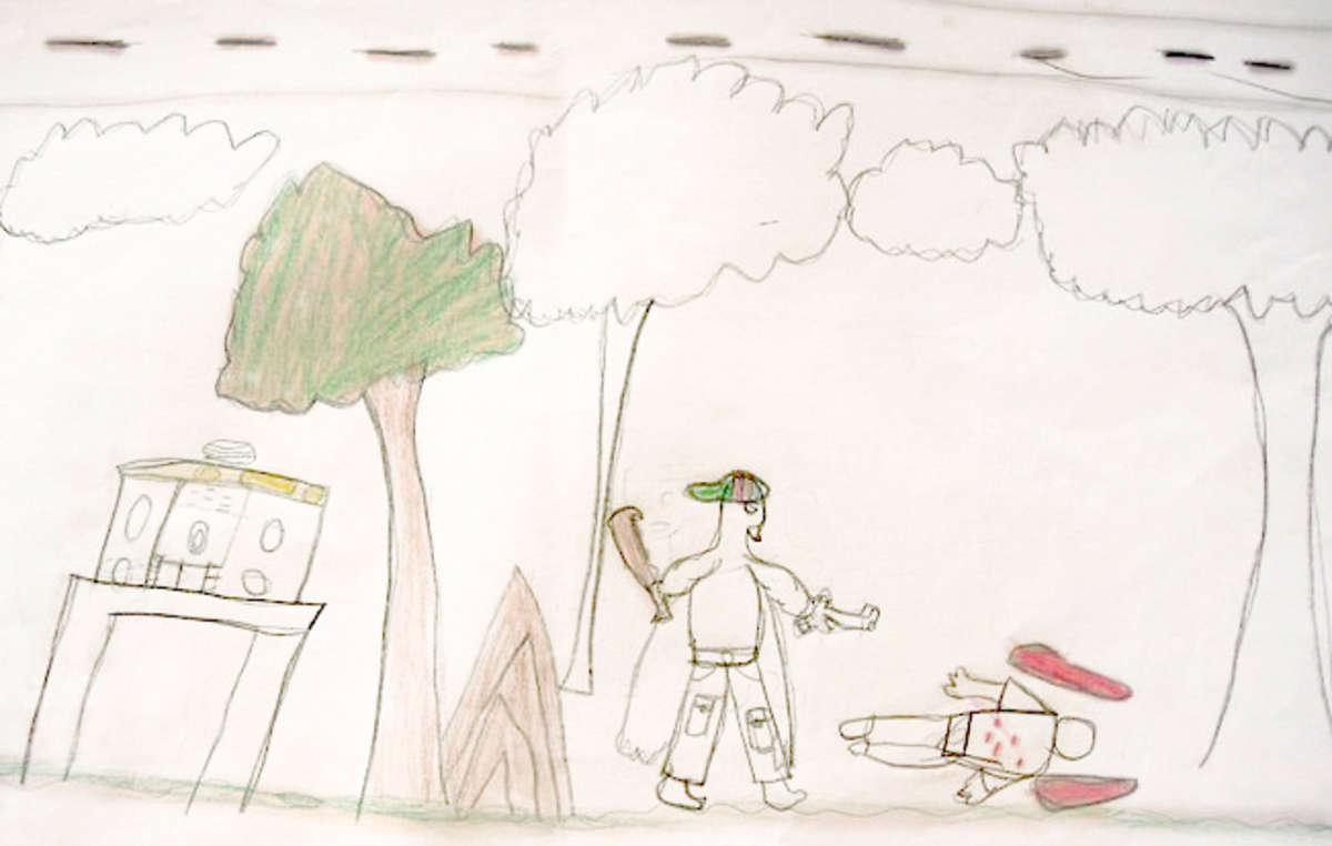 A Guarani child's drawing depicting a gunman killing a member of a Guarani community.