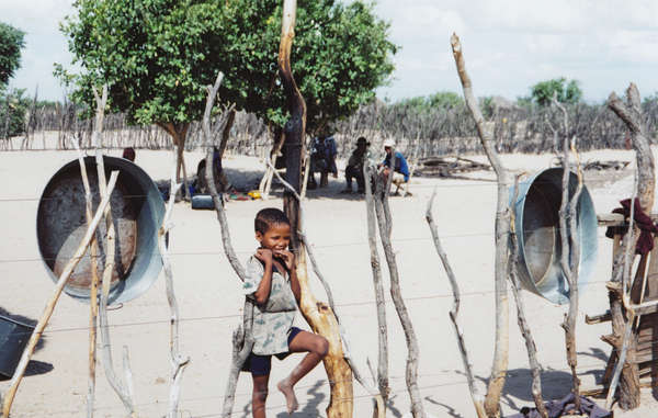 Many Bushmen were moved to a government resettlement camp called New Xade in 1997