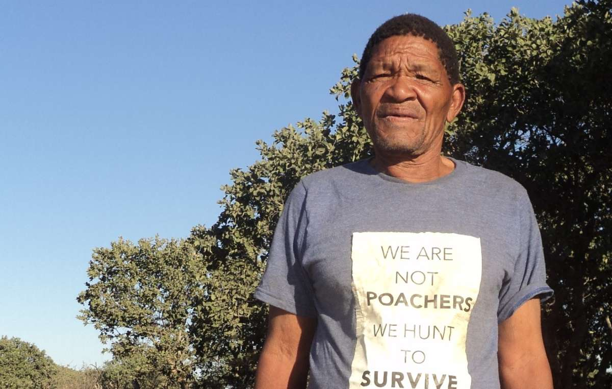 Bushman leader Roy Sesana has appealed to Prince William to acknowledge that the Bushmen are hunters not poachers.