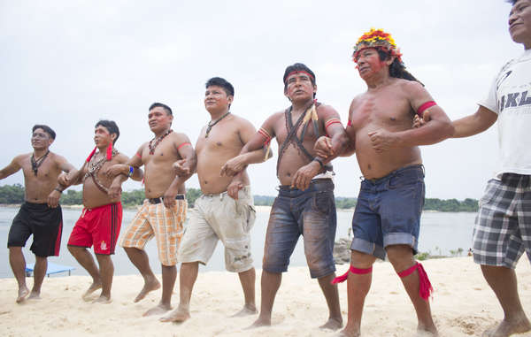 The Munduruku are protesting against a series of dams which, if constructed, would destroy their rainforest.
