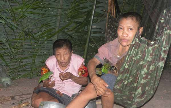 Amakaria and Jakarewyj, isolated Awá women, who made contact with a settled Awá community in December 2014
