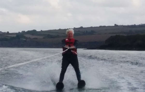 Robin Hanbury-Tenison training for his challenge to waterski across the English Channel.