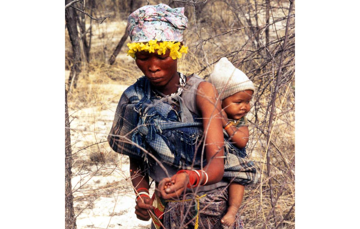 Mutter und Kinder vom Volk der Buschleute sammeln Beeren in Botswanas Central Kalahari Game Reserve.