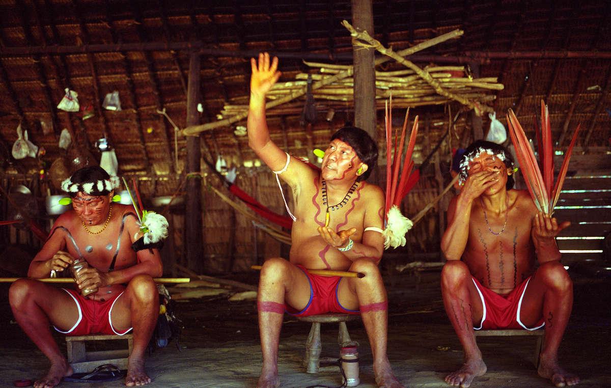 Yanomami shaman, Davi Kopenawa, during a shamanic healing ritual.