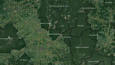 Como muestra la imagen satélite, las reservas indígenas son la principal barrera contra la deforestación.