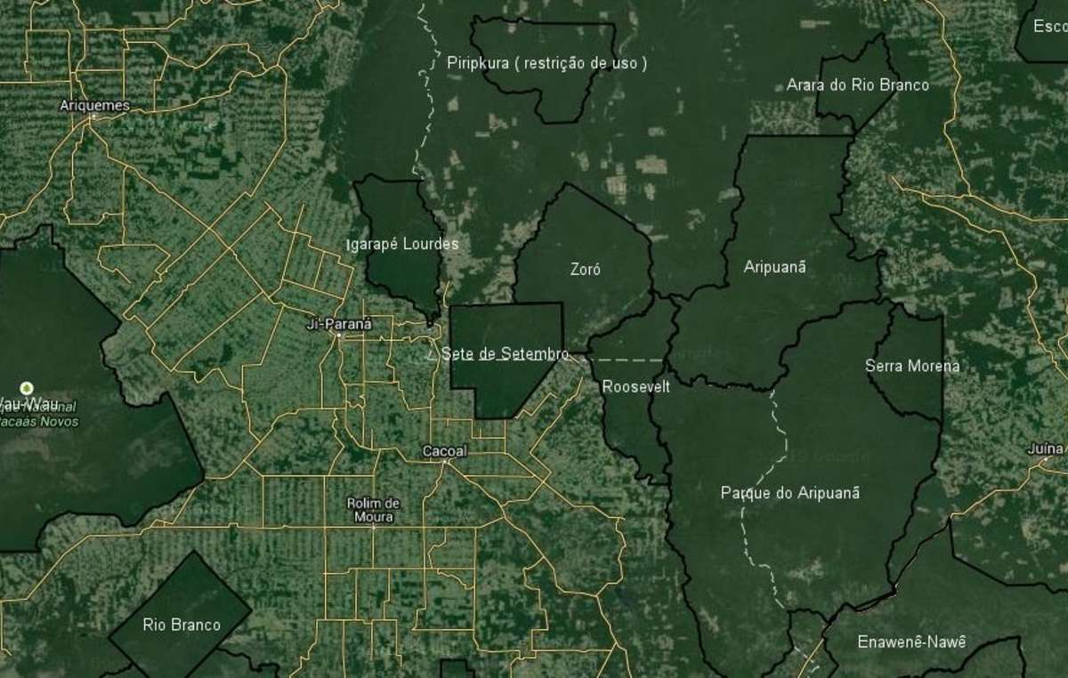 As satellite imagery shows, indigenous reserves are the main barrier to Amazon deforestation in Brazil.