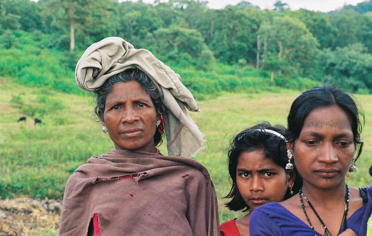 Estas lugareñas baigas fueron expulsadas ilegalmente de la Reserva de Tigres de Kanha en 2014.