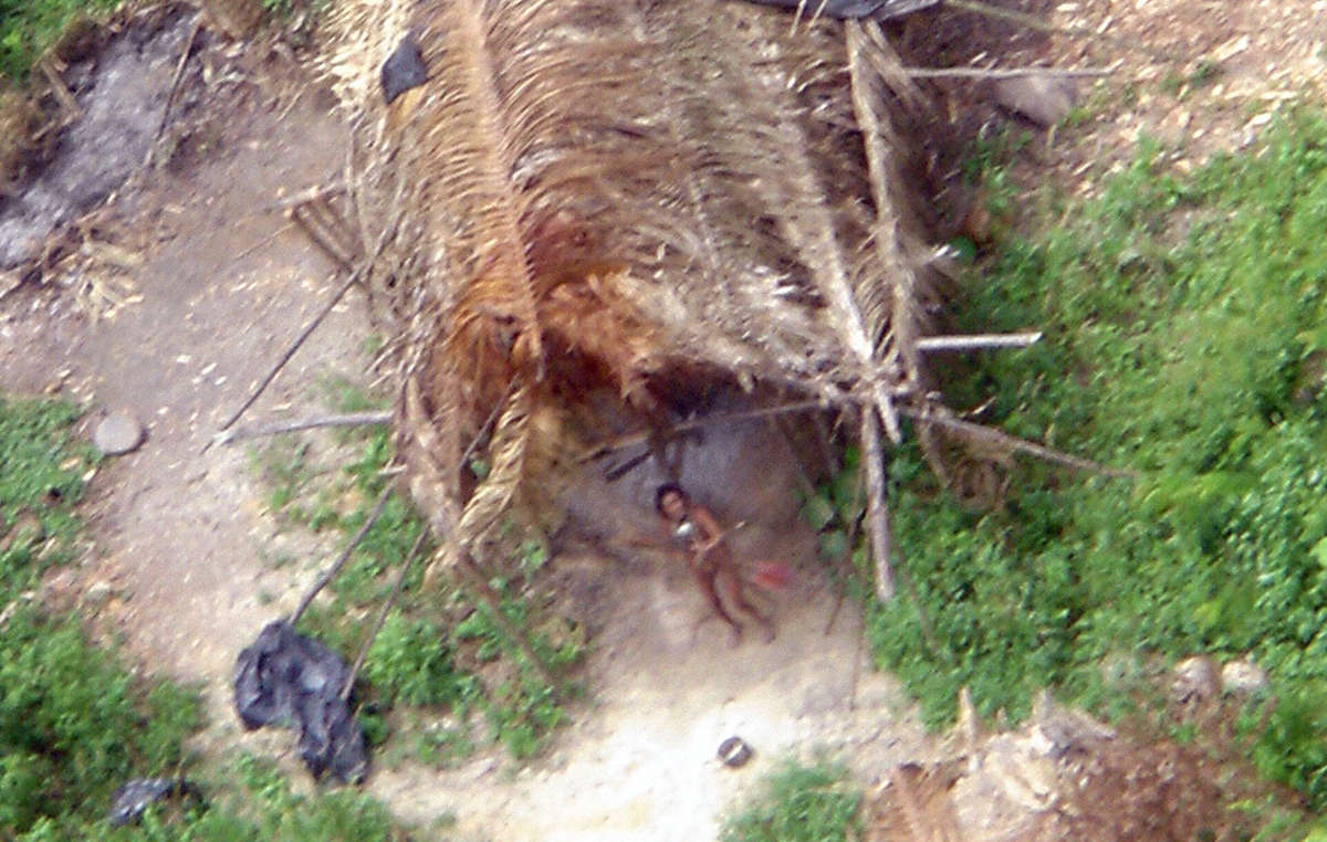 Maison communale de personnes non contactées à lintérieur du territoire de Uru Eu Wau Wau, photographiée en 2005.