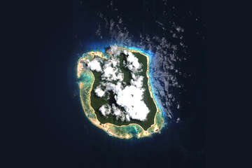 North Sentinel island in the Indian Ocean, as seen from a satellite.