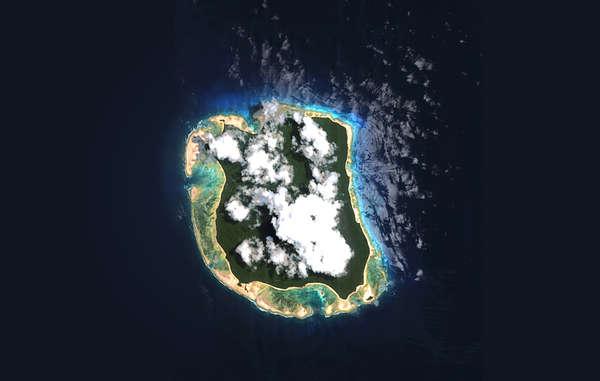 Ein Satellitenbild von North Sentinel Island im indischen Ozean.