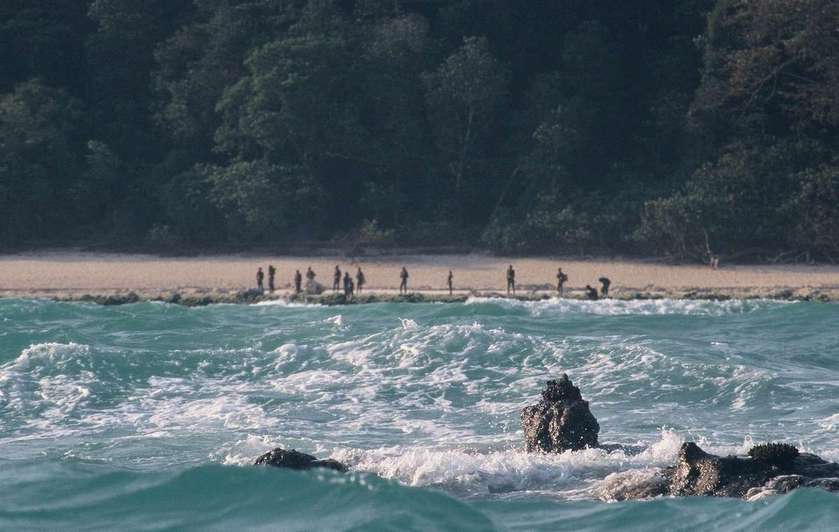 Sentinelese on a beach, seen from a boat in 2006