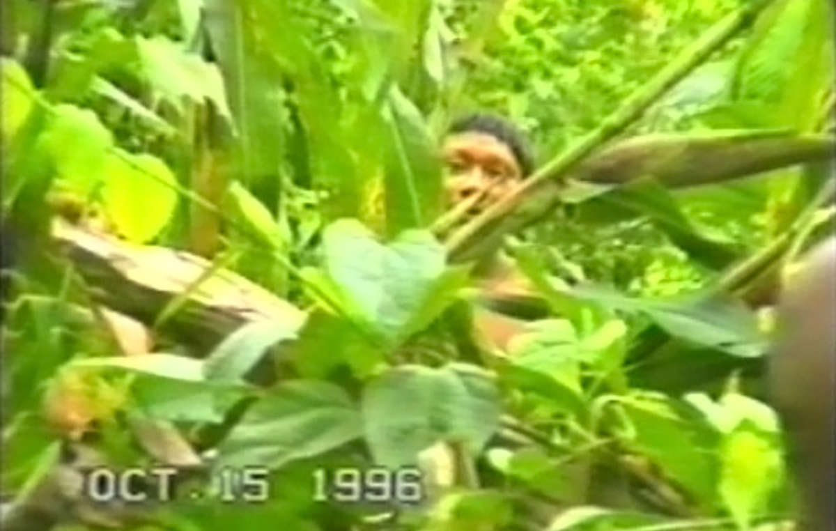 A still from one of the only true first contacts ever caught on video, with the Korubo tribe, Brazil.