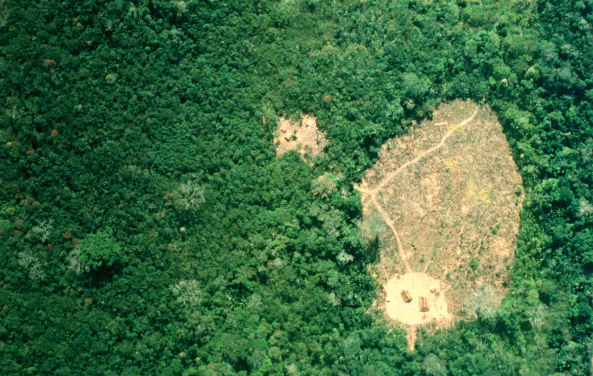 Isolated Uru Eu Wau Wau villages seen from the air, Brazil