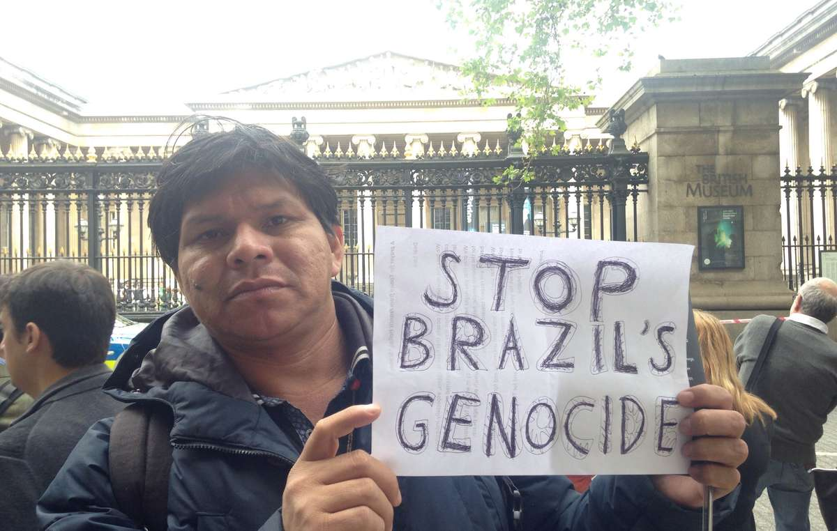 Tonico Benites Guarani protested in London against Brazils attack on its first peoples