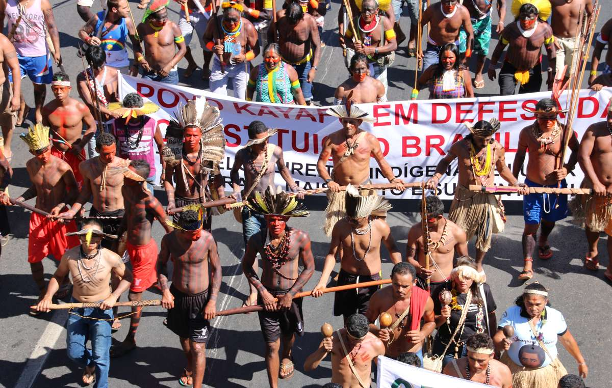 Brazilian indigenous people protest in the countrys federal capital, Brasilia