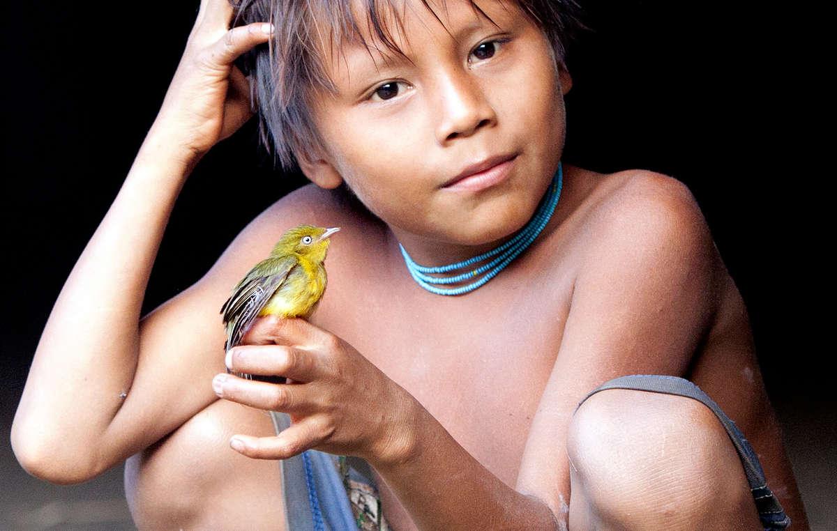 Un'altra delle immagini vincitrici di quest'anno: un giovane yanomami del Brasile. Fotografia di Luigi Repetto.