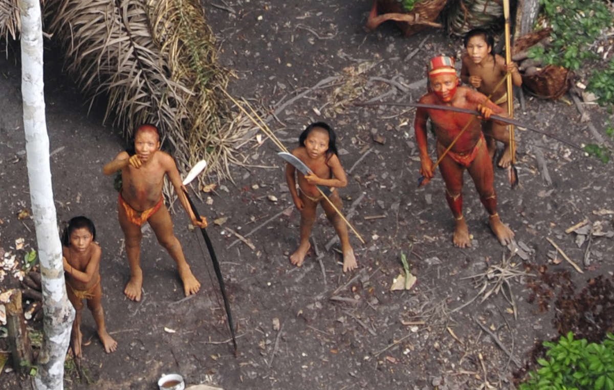 Uncontacted Indians in Brazil seen from the air during a Brazilian government expedition in 2010