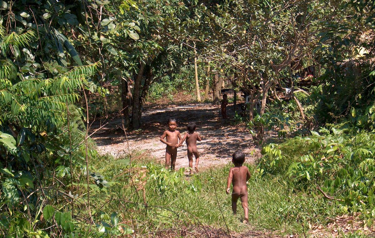 Des enfants pirahã jouent dans la forêt, Etat d'Amazonas, nord-ouest du Brésil.
