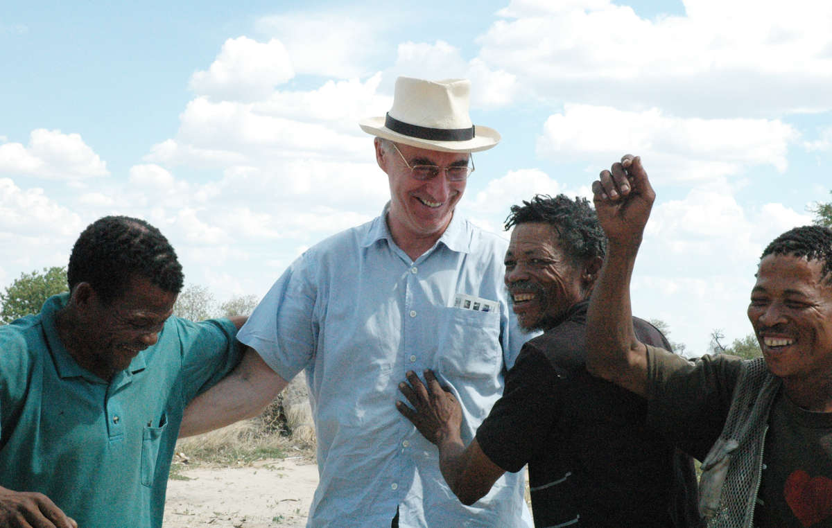 Lawyer Gordon Bennett with Bushmen clients after their historic 2006 legal victory. Botswana's government is now preventing him from entering the country.