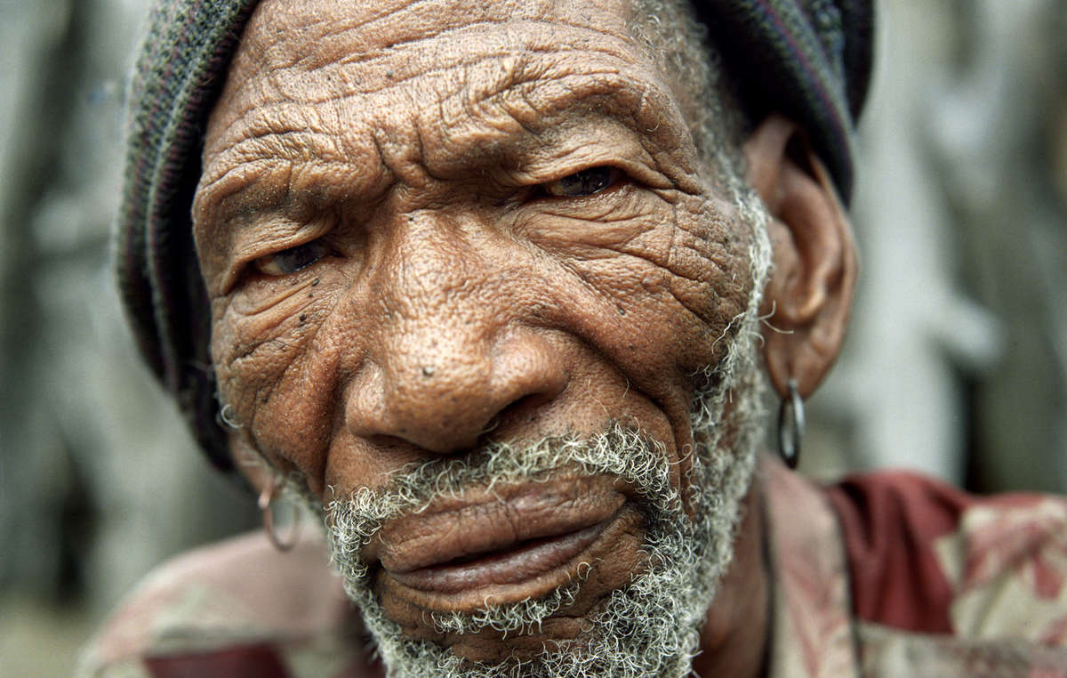 Bushman man Molathwe Mokalake in the resettlement camp of New Xade, Botswana.