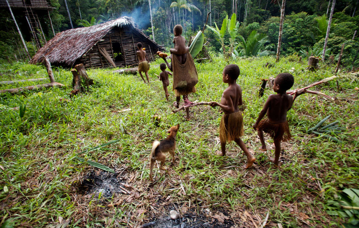 Kombai women and children return home with firewood and fruits gathered in the forest.