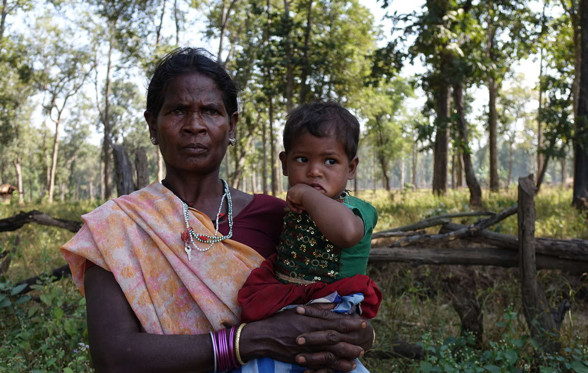 Baiga woman from Rajak village, threatened with eviction. The villagers are determined to stay and say they don't want to leave their forest. Achanakmar Tiger Reserve.