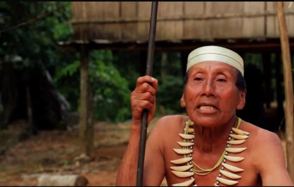 Salomon Dunu, homem Matsés que sobreviveu ao trauma do primeiro contato, fala com uma pesquisadora da Survival sobre a ameaça da exploração de petróleo ao seu povo. Um vídeo de Salomon foi visto por mais de 4 milhões de pessoas na página do Facebook da Survival.
