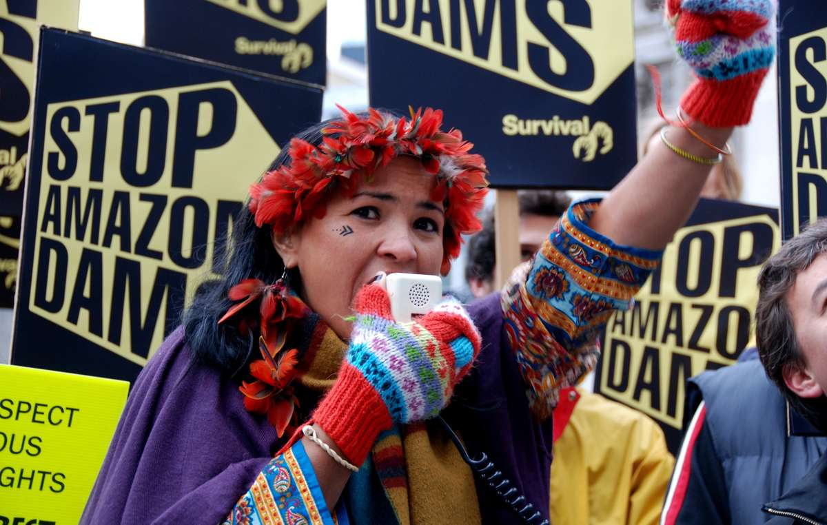Brazilian Indian leader Sheila Juruna during a demonstration, calling for the halting of three controversial mega-dam projects under construction in the Amazon, Brazil.