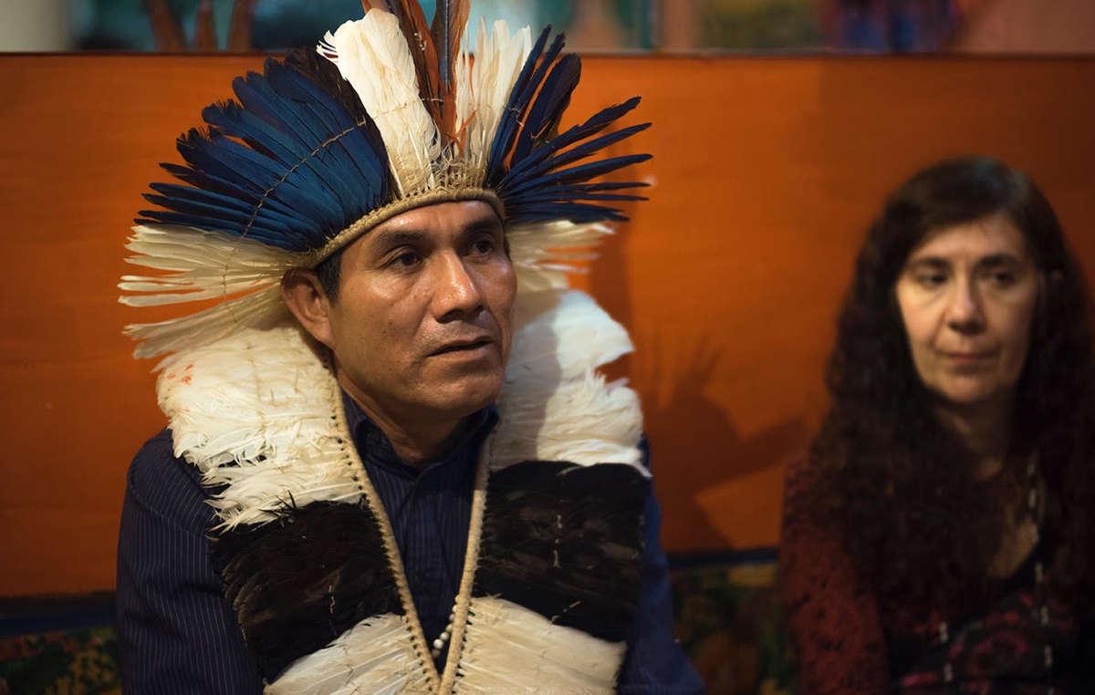 Ladio Veron, Guarani-Aktivist und Sohn von Marcos Veron, bei einem Event in Madrid (2017)