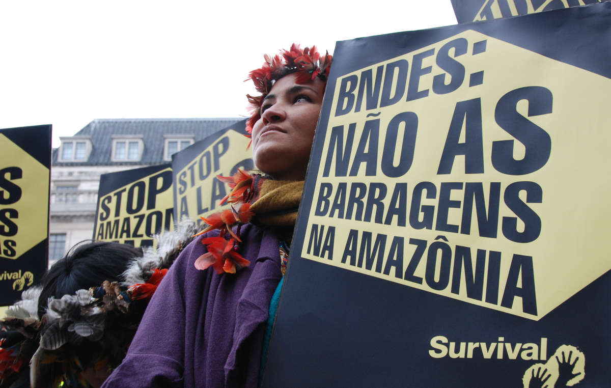 Brazilian Indian leader Sheila Juruna during a protest calling for the halting of three controversial dam projects in the Amazon, which threaten the lives of thousands of tribal peoples who depend upon the rivers and forests for their livelihood.
