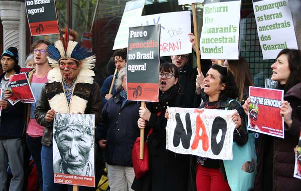 Protestors demanded an end to the theft of indigenous lands in Brazil