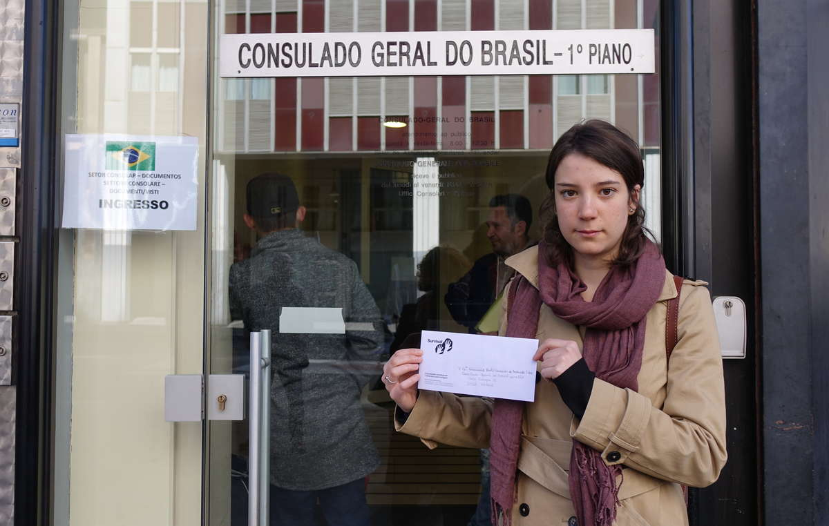 Survival also handed a protest letter in at the Brazilian consulate in Milan, Italy