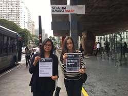 Survival supporters protesting in São Paulo, Brazil