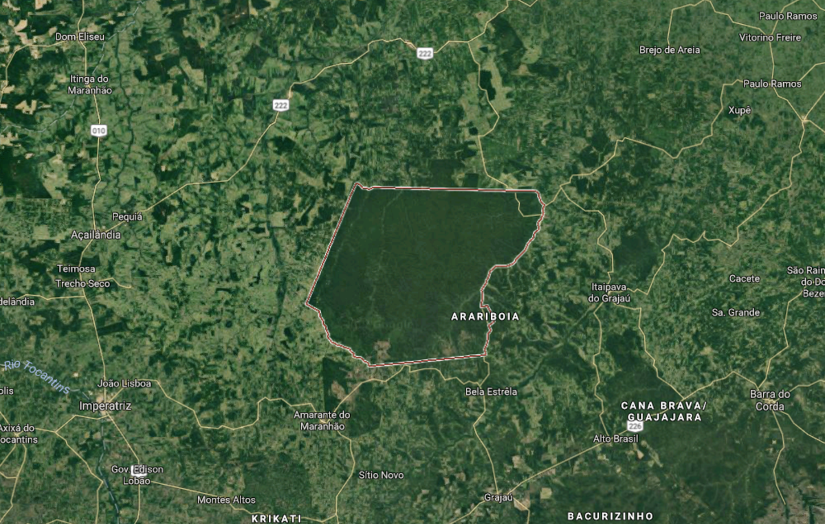 Arariboia indigenous territory in the Amazon, an island of green surrounded by deforestation.